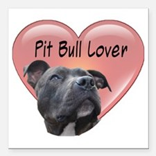 "Pit Bull Lover Square Car Magnet 3"" x 3"""