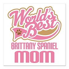 "Brittany Spaniel Mom Square Car Magnet 3"" x 3"""