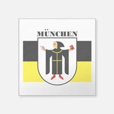 "Munich (blk).png Square Sticker 3"" x 3"""