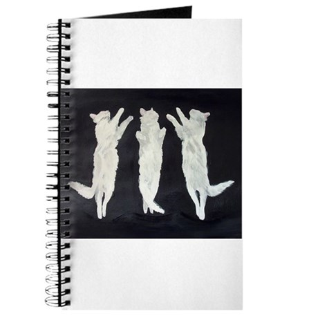 dancing cats, black and white Journal