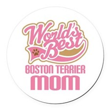 Boston Terrier Mom Round Car Magnet