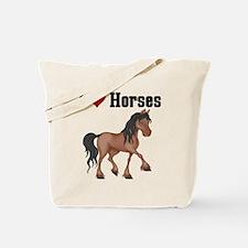 I Love (Heart) Horses Tote Bag