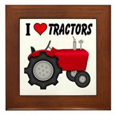 I Love (Heart) Tractors Framed Tile