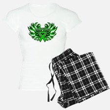 Bile Duct Cancer Heart Wings Pajamas
