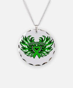 Bile Duct Cancer Heart Wings Necklace