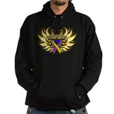 Bladder Cancer Heart Wings Hoodie