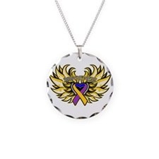 Bladder Cancer Heart Wings Necklace