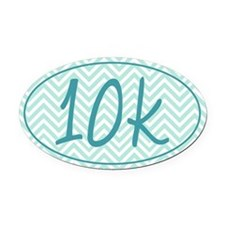10k Blue Chevron Oval Car Magnet