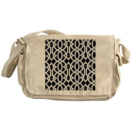 Black & White Trellis Messenger Bag