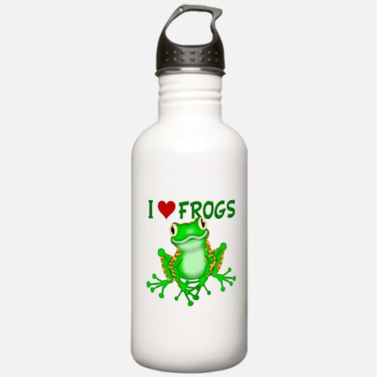 I Love (Heart) Frogs Water Bottle