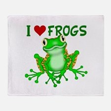 I Love (Heart) Frogs Throw Blanket