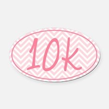 10k Pink Chevron Oval Car Magnet