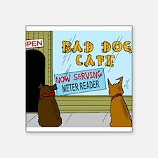"Menu at the Bad Dog Cafe Cartoon Square Sticker 3"""