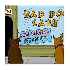 Menu at the Bad Dog Cafe Cartoon Tile Coaster