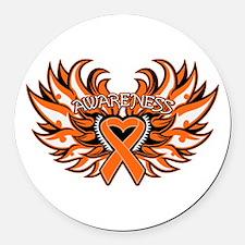 Leukemia Heart Wings Round Car Magnet