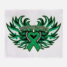 Liver Cancer Heart Wings Throw Blanket