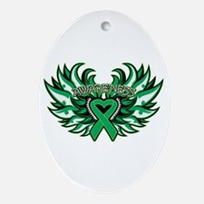 Liver Cancer Heart Wings Ornament (Oval)