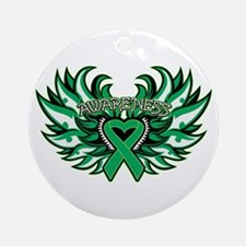 Liver Cancer Heart Wings Ornament (Round)