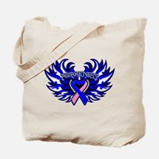 Male Breast Cancer Heart Wings Tote Bag