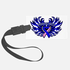 Male Breast Cancer Heart Wings Luggage Tag