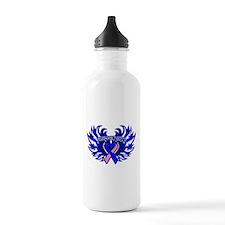 Male Breast Cancer Heart Wings Water Bottle