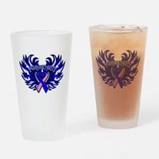 Male Breast Cancer Heart Wings Drinking Glass