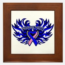 Male Breast Cancer Heart Wings Framed Tile