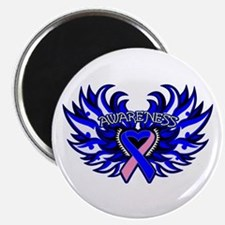 """Male Breast Cancer Heart Wings 2.25"""" Magnet (100 p"""