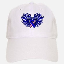Male Breast Cancer Heart Wings Baseball Baseball Cap