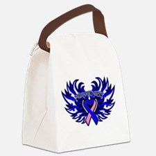Male Breast Cancer Heart Wings Canvas Lunch Bag