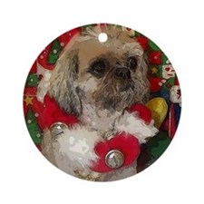 Shih Tzu Dog Pop Art Christmas Sandy Ornament (Rou
