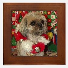 Shih Tzu Dog Pop Art Christmas Sandy Framed Tile