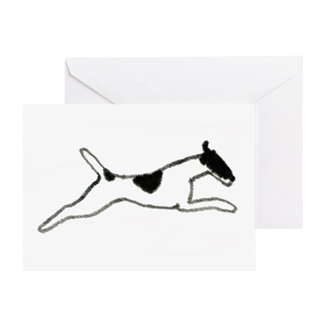 Leaping Smooth Fox Terrier Greeting Card