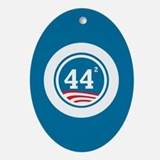 44 Squared Obama Ornament (Oval)