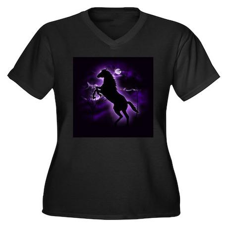 Lightning Horse Women's Plus Size V-Neck Dark T-Sh