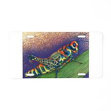 Painted Grasshopper Aluminum License Plate