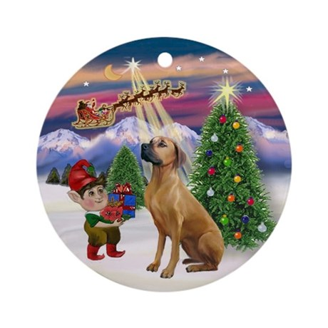 Santa's Take Off & Rhodesian Ornament (Round)