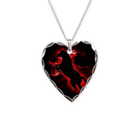 Fire Horse Necklace Heart Charm
