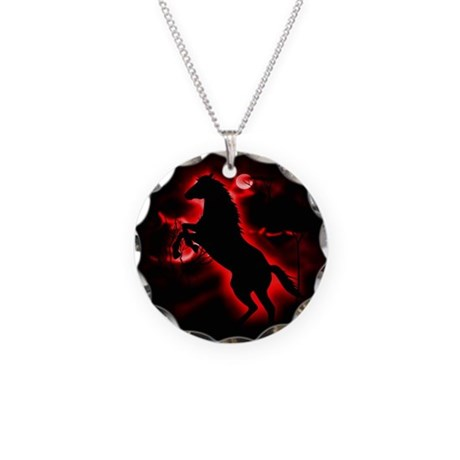 Fire Horse Necklace Circle Charm