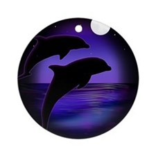 Dolphins At Midnight Ornament (Round)