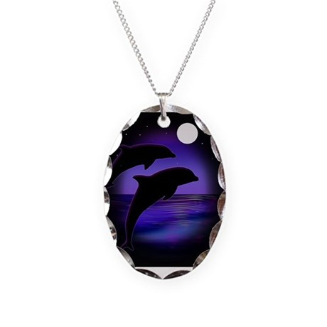 Dolphins At Midnight Necklace Oval Charm
