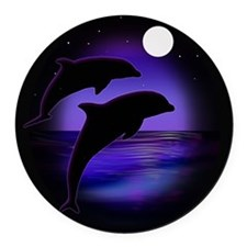 Dolphins At Midnight Round Car Magnet