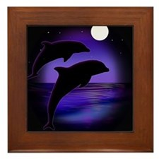Dolphins At Midnight Framed Tile