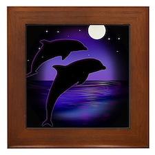 Dolphins At Midnight Framed Tile