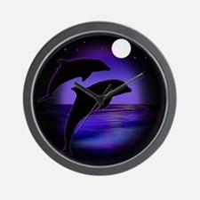 Dolphins At Midnight Wall Clock