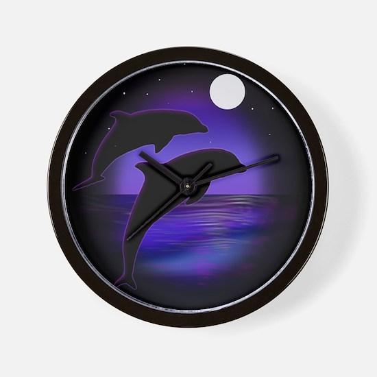 Dolphins At Midnight Wall Clock