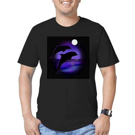 Dolphins At Midnight Men's Fitted T-Shirt (dark)