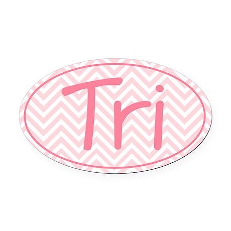 Triathlon Pink Chevron Oval Car Magnet