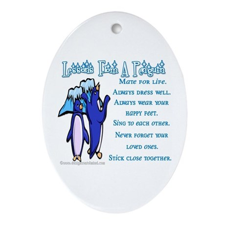 Lessons from a penguin Oval Ornament