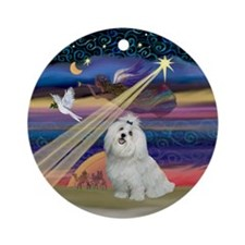 Xmas Star & Maltese Ornament (Round)
